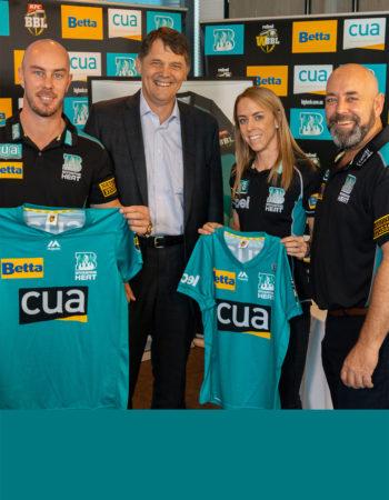 With Brisbane Heat team captains Chris Lynn and Kirby Short, and coach Darren Lehmann